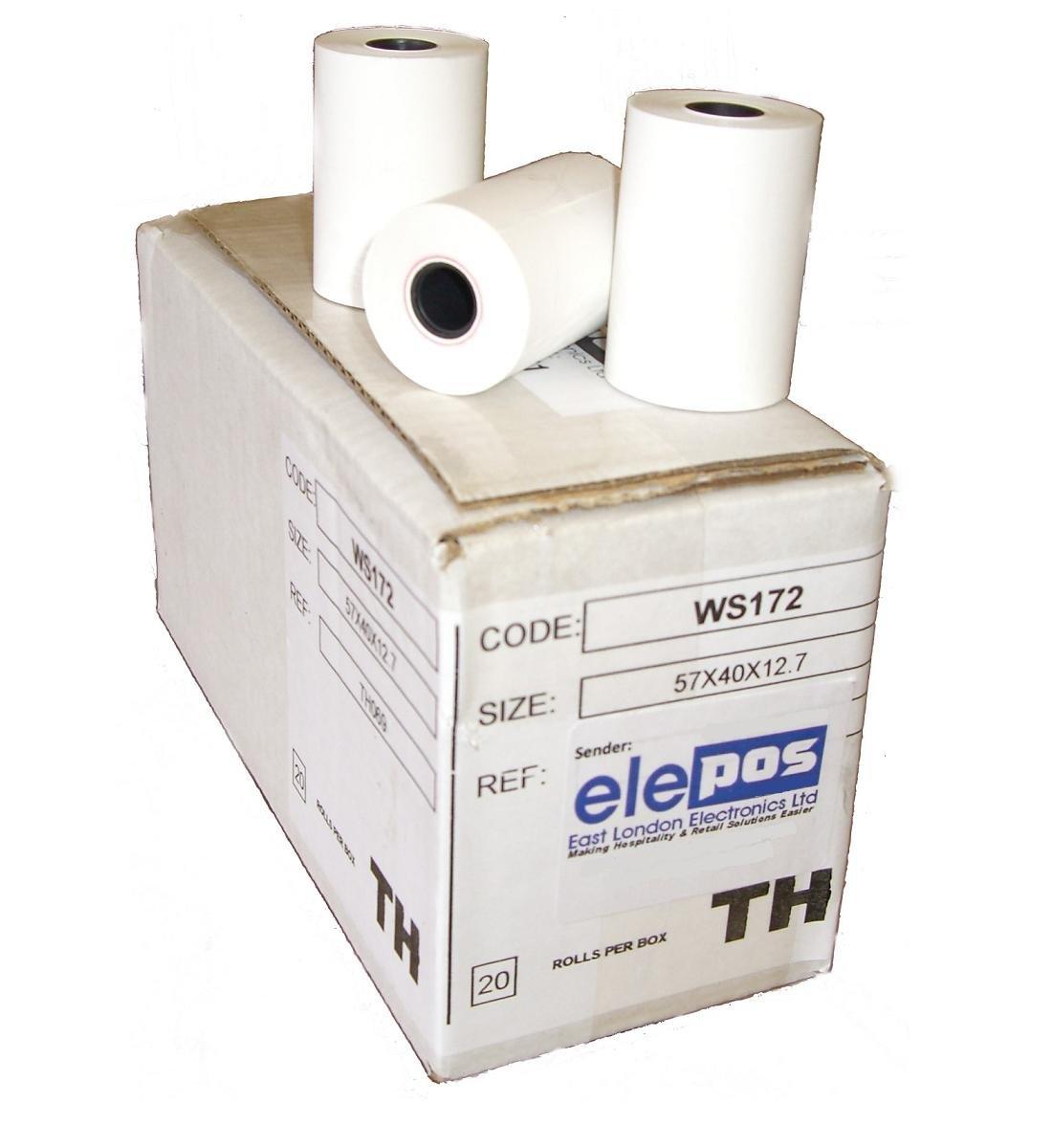 elePOS® Brand 57 x 40mm Ingenico iCT200 iCT220 iCT250 iWL250 iWL220 EFT930G 57x40 Credit Card PDQ Machine Rolls EPOS POS - 20 Rolls - 1 Box (Chip & Pin)