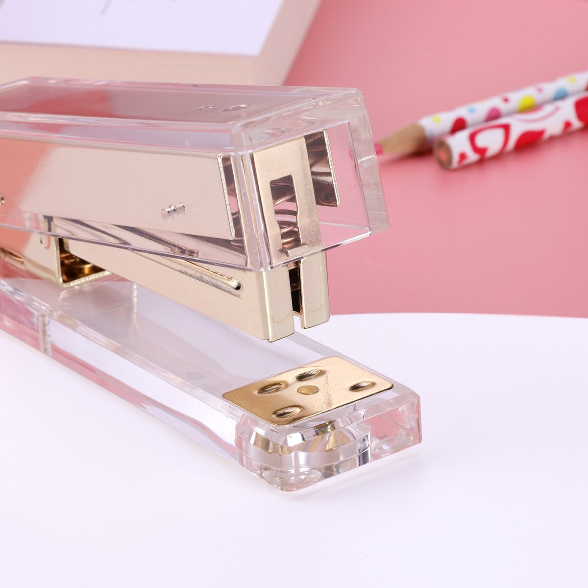 TOYMYTOY Acrylic Clear Desktop Staplers,Classic Desk Staplers for Office, School Use (Gold) by TOYMYTOY (Image #8)