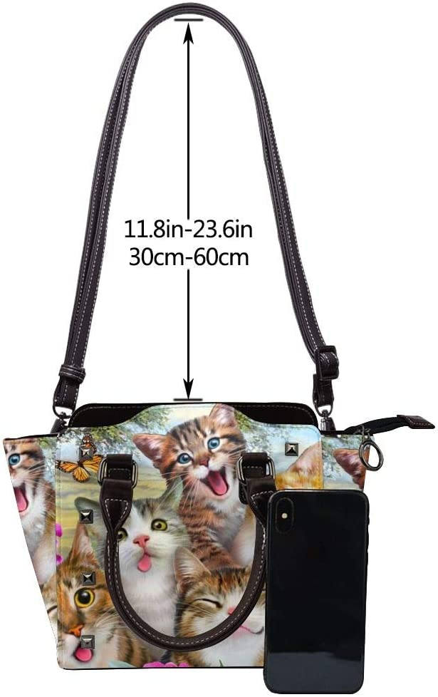 GHUJAOOHIJIO Ideal Mothers Gift-Cats Selfie Womens Rivet PU Leather Tote Bag Shoulder Bag Purse