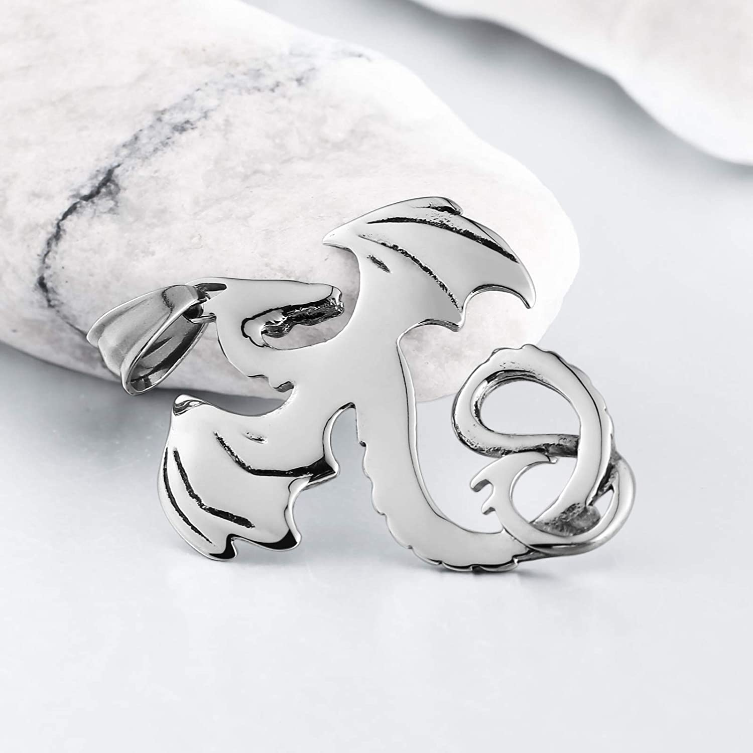 Bishilin Stainless Steel Necklace Men Seahorse Pendant Silver Necklace for Men Fashion