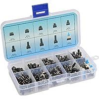 QLOUNI 10 typen tactische drukknopschakelaar, 180 stuks, drukknopschakelaar, micro schakelaar, momentary switch…
