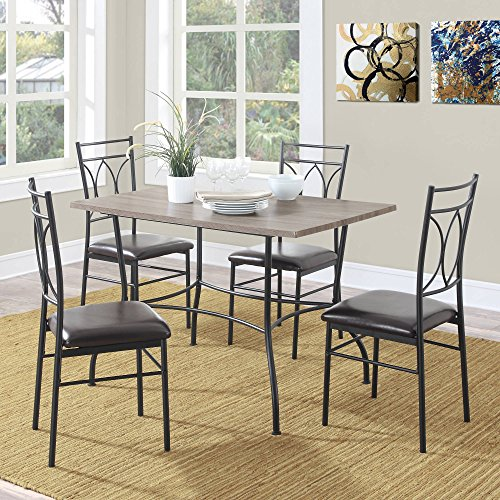 DLG Shelby 5-Piece Rustic Wood and Metal Dining Set, beautiful dining set that is light and airy, its light rustic wood top, espresso faux leather seats, Dimensions LxWxH 46.00 x 30.00 x 30.00