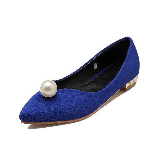 ENMAYER da donna nabuk tacco basso punta Solid pompe scarpe con strass d41c7ac9520