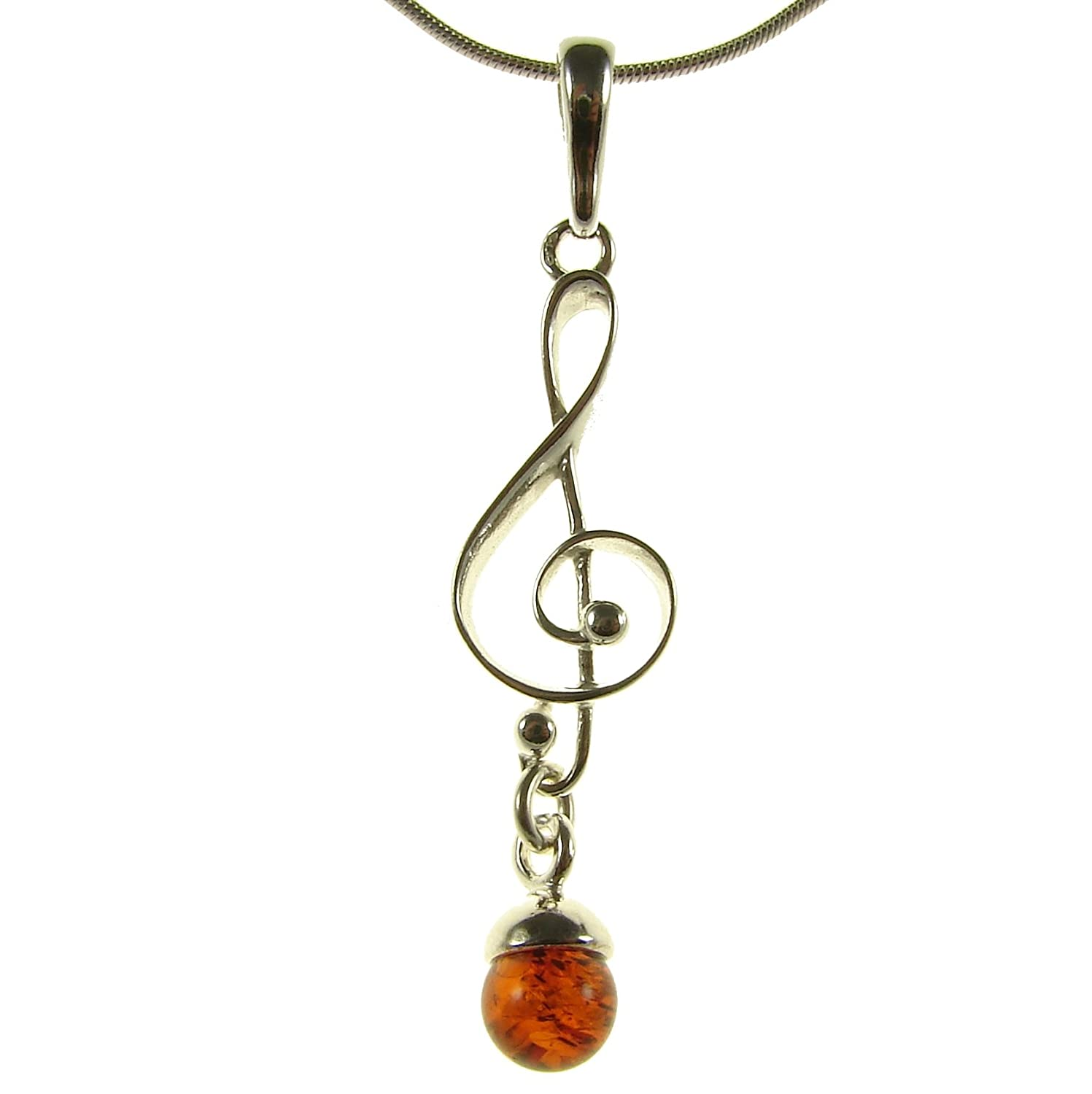 14 16 18 20 22 24 26 28 30 32 34 1mm ITALIAN SNAKE CHAIN BALTIC AMBER AND STERLING SILVER 925 SNAIL PENDANT NECKLACE