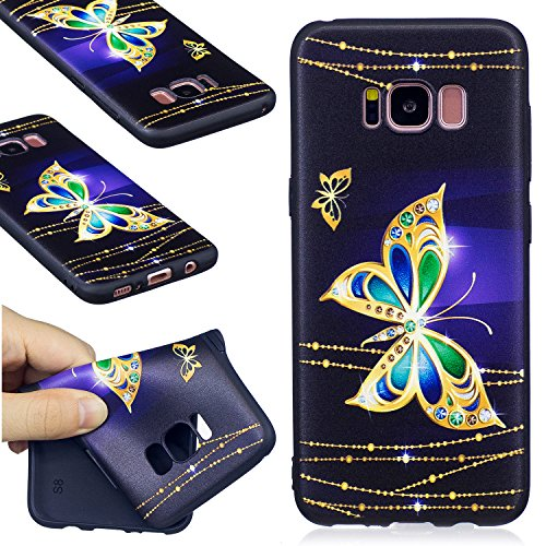 Galaxy S8 Case, FIREFISH Flexible TPU Gel Silicone Embossed Printing [Anti Slip] [Scratch Resistances] Easy Grip Back Cover Shell for Samsung Galaxy S8 -Butterfly-A
