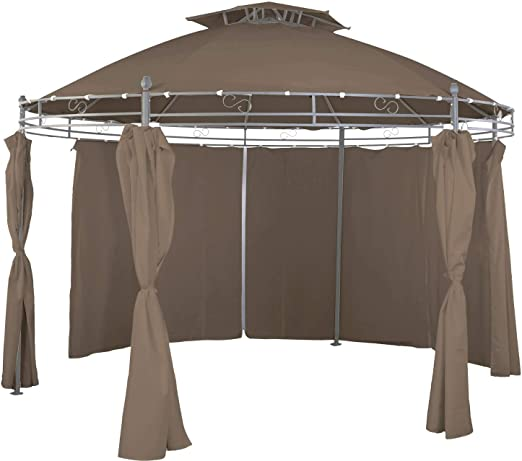 Pabellón redonda 3, 5 m taupe Incluye laterales impermeable: Amazon.es: Jardín