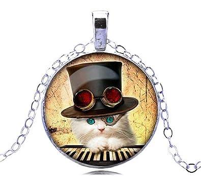 f9fbbc9a0 New Design Cute Kitten Necklace Glass Dome Kitten Choker Necklace Kitten  Necklace For Girls (Silver