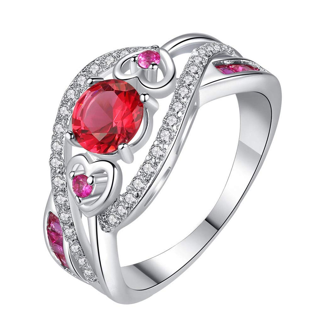 Coco-Z New Women Beauty Heart Shaped Ring Red Zircon Engagement Heart Ring Jewelry, Overseas Import Products Specialty Store