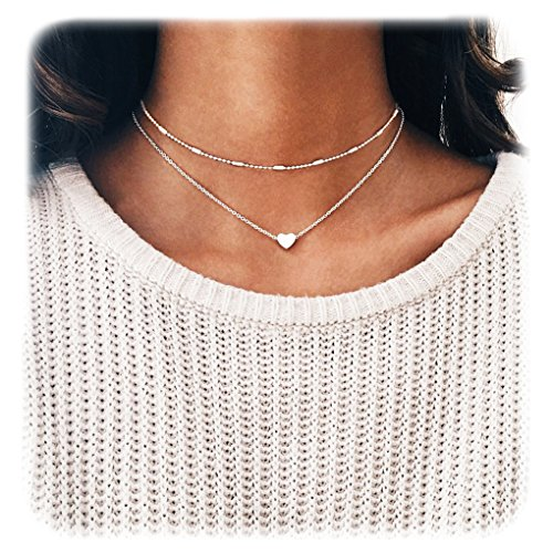 Wowanoo Choker Necklace Set Multilayer Simple Layers Chain Heart Clavicle Necklace Jewelry for Women (Pendant Silver Choker Necklace)