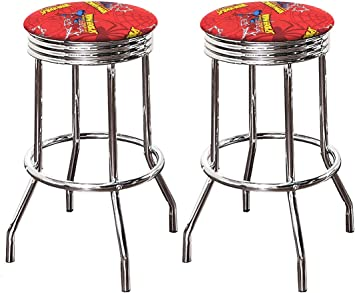 "2 Set of Swivel Red and Chrome retro bar stools 29/""Height."