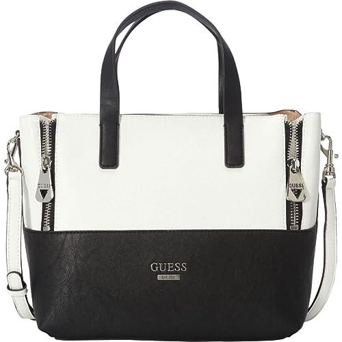 GUESS Doheny Satchel Tote Bag Handbag Purse (Black White) (Black White ff4326532a332