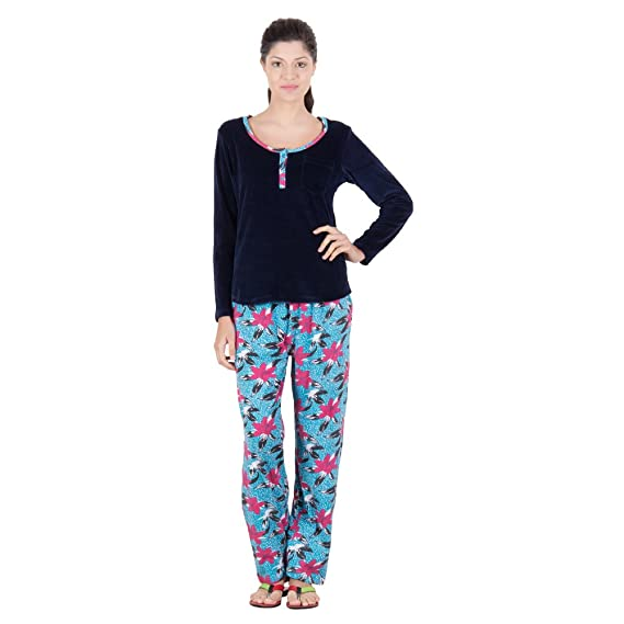 669088e6516 Serenity Floral Pattern Cotton Night Suit for Women (Size  Medium ...