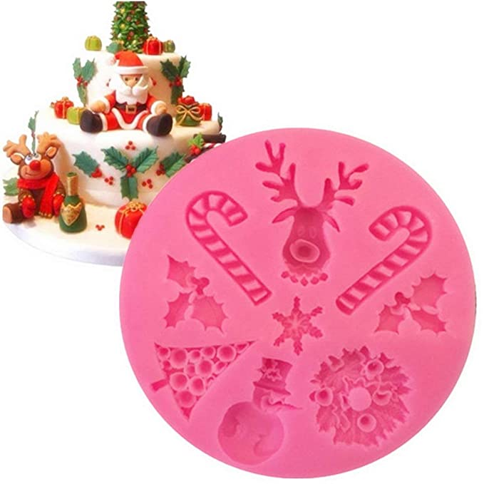 DoMoment Árbol de Navidad Muñeco de Nieve Pastel de Nieve Pastel de Chocolate Molde de Silicona Decorativo Rosa: Amazon.es: Hogar