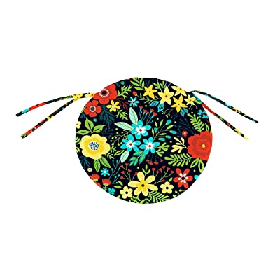 Plow & Hearth Polyester Classic Round Chair Cushion with Ties - 16 Dia. x 2 Black Floral : Garden & Outdoor