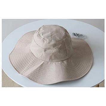 XKS Sombrero Antiguo del Pescador del Estilo - Ins Grande Sombrero Grande  del Sol - Algodón Algodón Sombrero del Lavabo del Color Sólido Plegable  Femenino ... 4d2475ff9ac