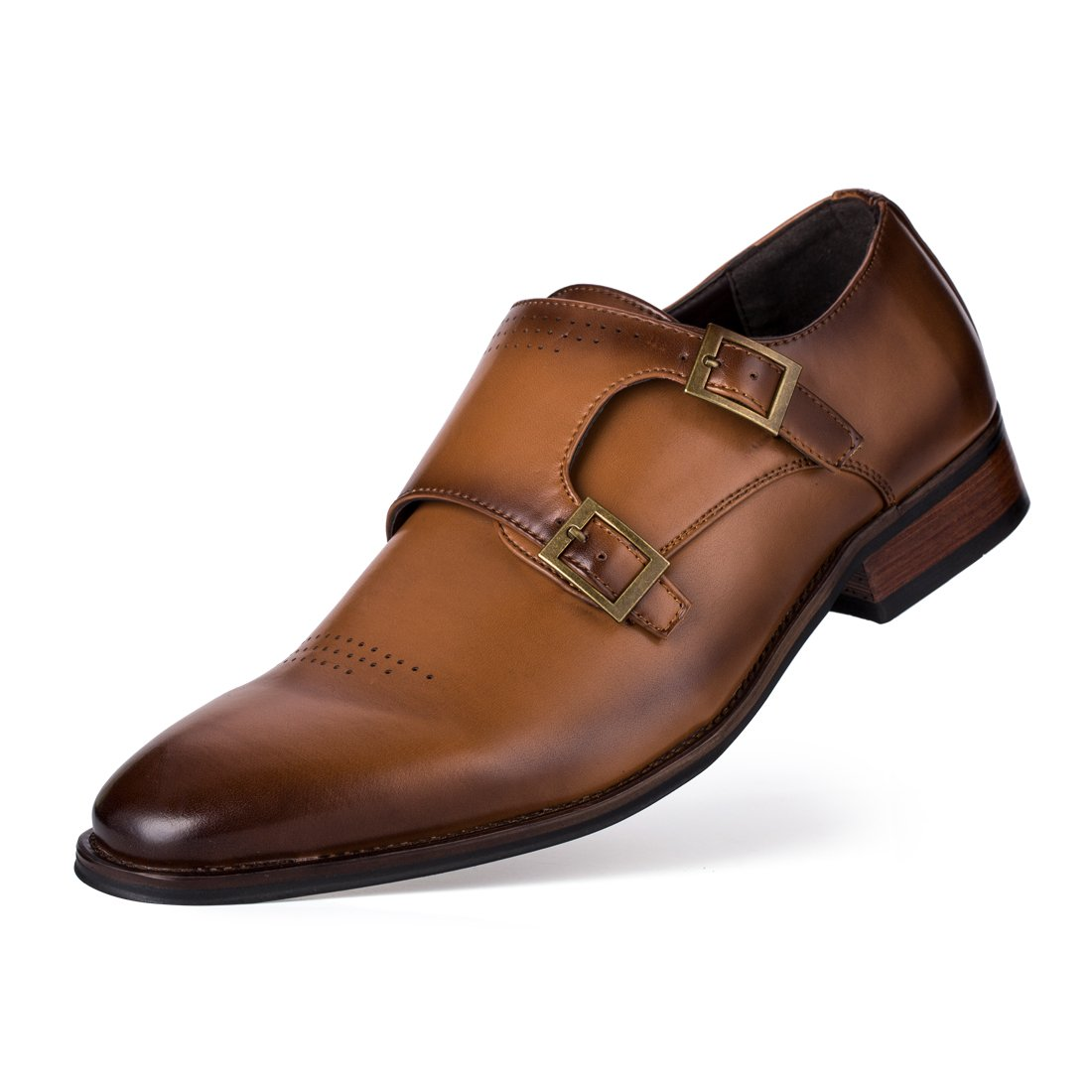 Jivana Mens PU Leather Classic Oxford Dress Shoes Double Monk Strap Buckle (11, Brown-8)
