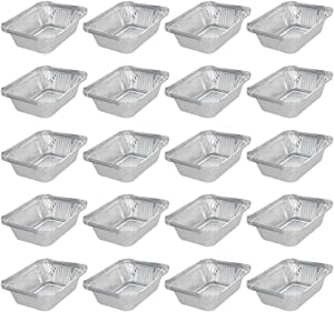 Othmro Rectangular Containers 300ml 100PCS,Disposable Aluminum Foil Pan Take Out Food Containers with Lids