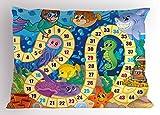 Lunarable Board Game Pillow Sham, Underwater Wildlife Oceanic Game Image Animals Seashells Tresure Pirate Ship Art, Decorative Standard Queen Size Printed Pillowcase, 30 X 20 inches, Multicolor