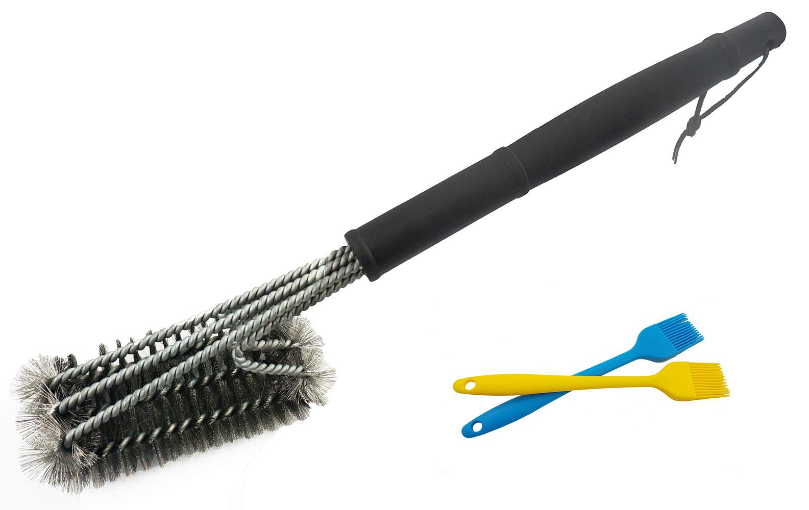18'' Bristle Grill Brush, Best BBQ Cleaner 100% Safe Healthy. 2 Silicone Brush And Stiff Handle Resistant Stainless Steel Brush Tool Apply to All Charcoal, Gas, Steel Grill Grates Barbecue Cooking .3