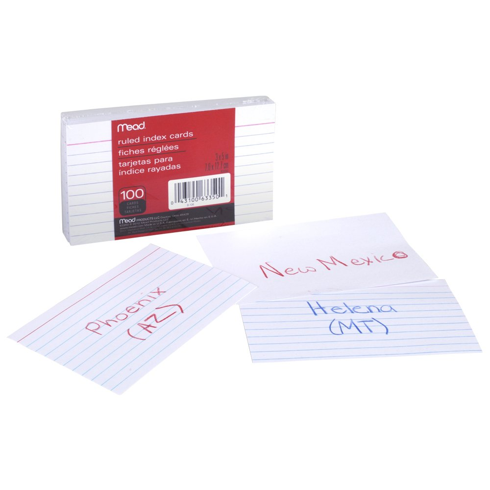 Amazon.com : Mead Index Cards, Ruled, 3 x 5 Inch, White, 100 Per ...