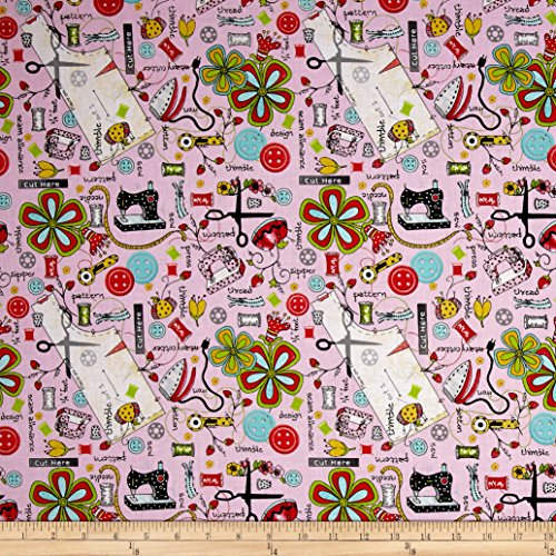 (QT Fabrics The Quilted Cottage Everything Sewing Light Pink)