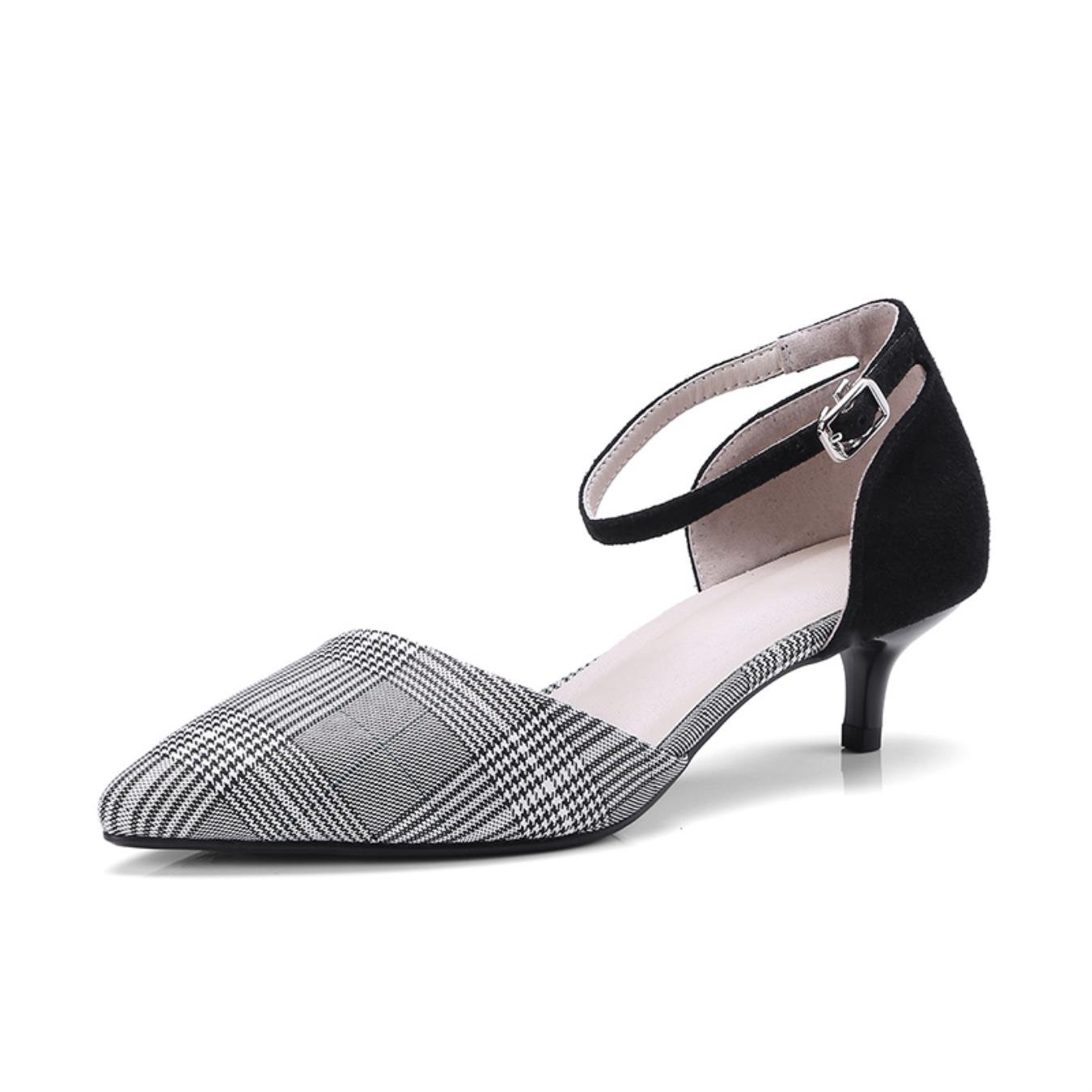 ISNOM 2018 Summer Thin Heels Sandals Women Kid Suede Plaid Pointed Toe Footwear New Ankle Strap Office Ladies Shoes Big Size