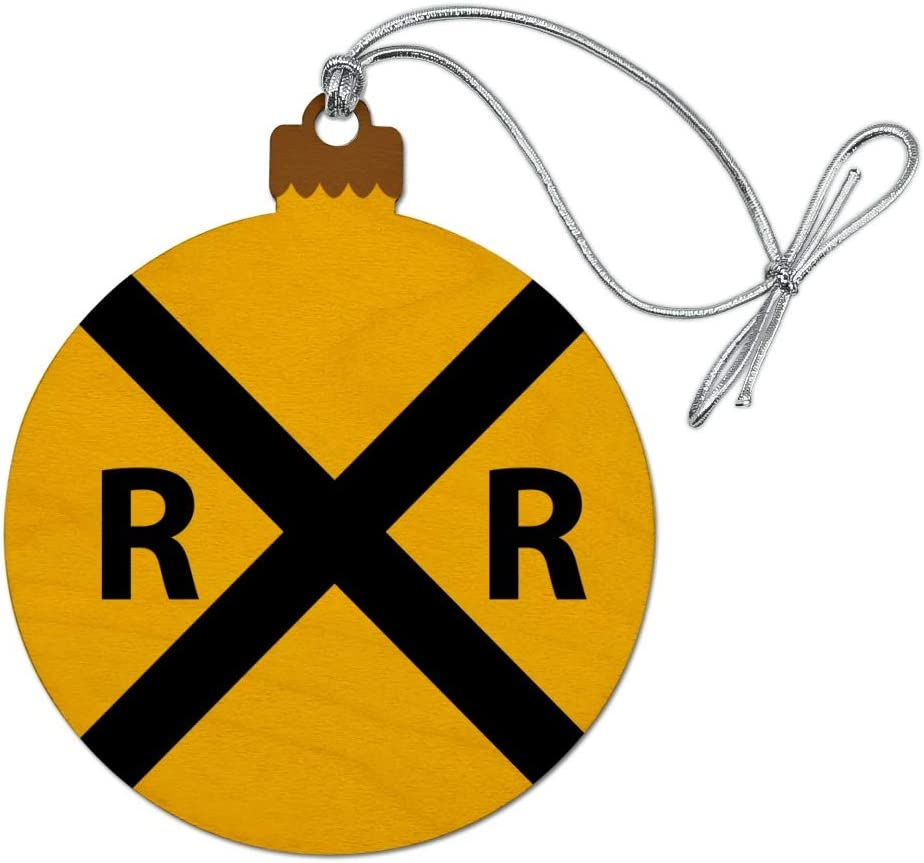 GRAPHICS & MORE Railroad Crossing Traffic Sign Train Wood Christmas Tree Holiday Ornament