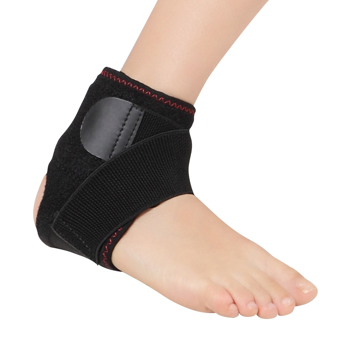 Techlove Heated Ankle Brace Heat Therapy Heel Wrap by with Moxa Bag for Men and Women Pain Relief for Sprain, Arthritis and Achilles Tendon (Black)