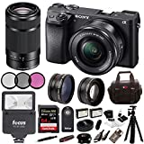 Cheap Sony ILCE-6300 a6300 4K Mirrorless Camera 16-50mm & 55-210mm Zoom Lens + 64GB Pro Accessory Bundle, Software P