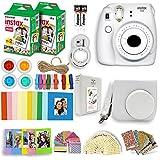 Fujifilm Instax Mini 9 Instant Camera + Fuji INSTAX Polaroid Film (40 Sheets) + Accessories Bundle - Carrying Case, Photo Album, Assorted Frames, Colorful Sticker Frames (EMOJI) & MORE (Smokey White)