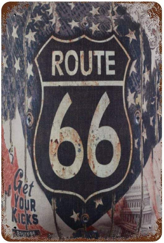 NEWpapa Signs Bathroom Decor Wall Art Kitchen Decor Kitchen Wall Art Bathroom Art Vintage Wood Rusted Look USA American National Flag Route 66 for Man