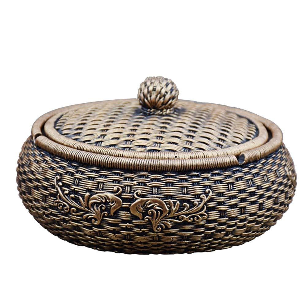 WXXKA Cendrier en Pierre, Cendrier en Pierre De Table en Forme De Bambou Chinois, avec Couvercle, Coupe-Vent, Décorations/Cadeau, Or/Argent en Option