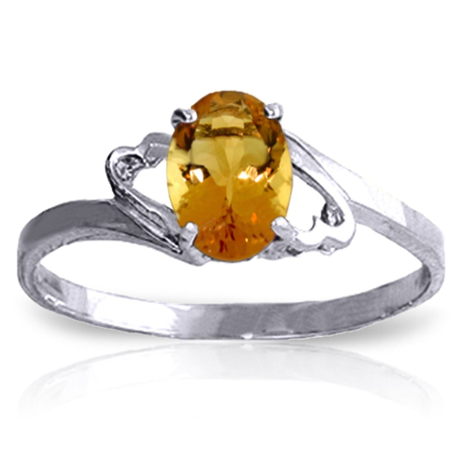 ALARRI 0.9 CTW 14K Solid White Gold My Endless Love Citrine Ring With Ring Size 6.5