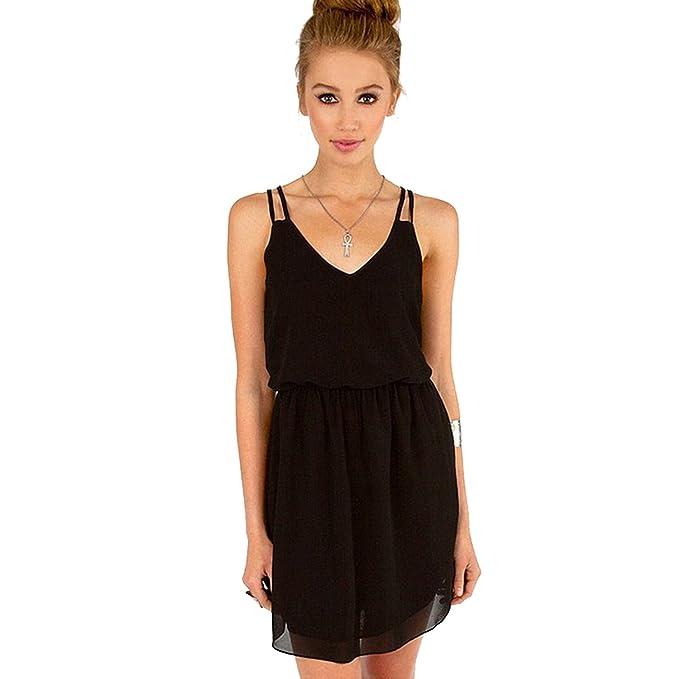 HASKAS 2018 Summer Style Chiffon Party Dress Women Casual V Neck Beach Dress  c9c23e01c725