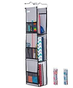 Moditty   Hanging Locker Organizer for School, Work, Gym Storage   3 or 2 Shelf Adjustable   9x6x38 Inches   Polyester (Black)