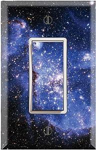 Graphics Wallplates - Blue Galaxy Stars - Single Rocker/GFCI Wall Plate Cover