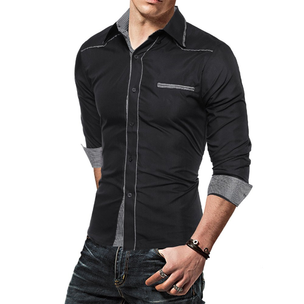 Shirt Botton Open Front Shirts Tops Blouse Bestop Mens Fashion Splice Slim Stand Collar Longt Sleeve T