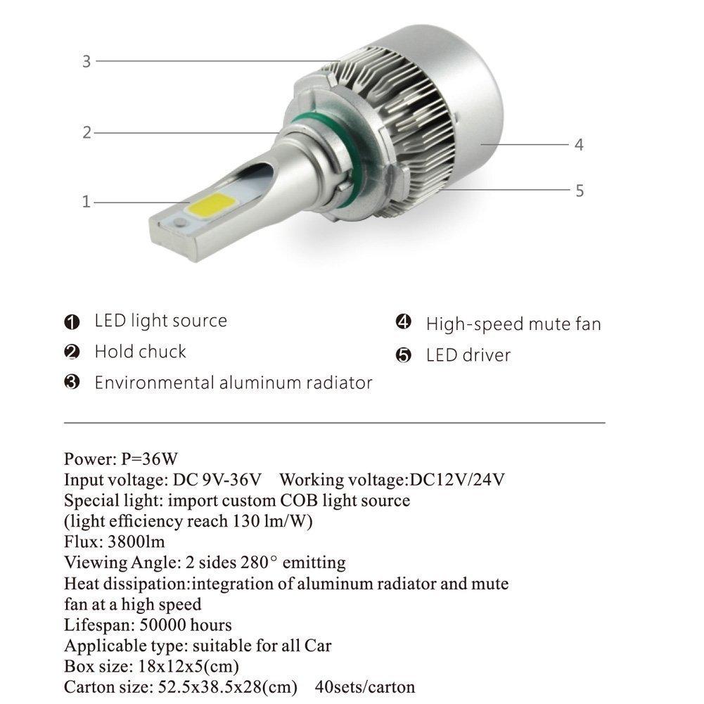 C6 H7 Led Cob Headlight Conversion Kit Replacement Wiring Harness Halogen Hid Bulbs 60w Set 7600lm 6000k2 Pcs H3 H7h119004 White Automotive