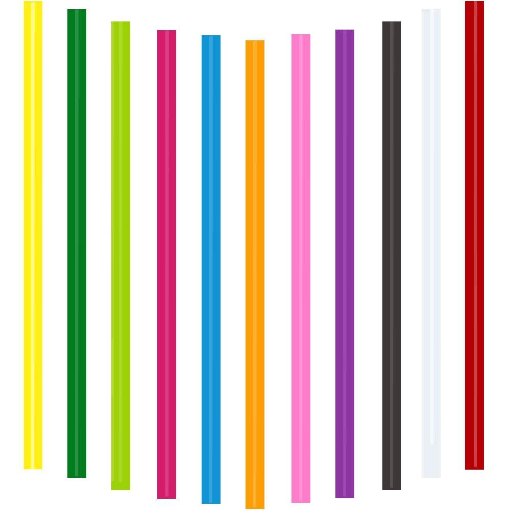 Ewparts 7mm x 250 mm Bâtons de colle colorés pour pistolet à colle chaude Bâtons de colle 7mm, 11 couleurs, paquet de 11pcs