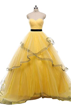 eaed8801b2e Tiered Pleats Prom Dresses Long Strapless Open Back Lace-up Tulle Evening  Party Dress 2019 at Amazon Women s Clothing store