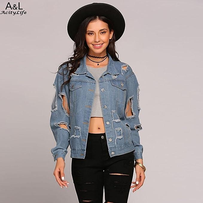 1d02c4aa88a0a Fanala Denim Jackets Women Hole Boyfriend Style Long Sleeve Vintage ...