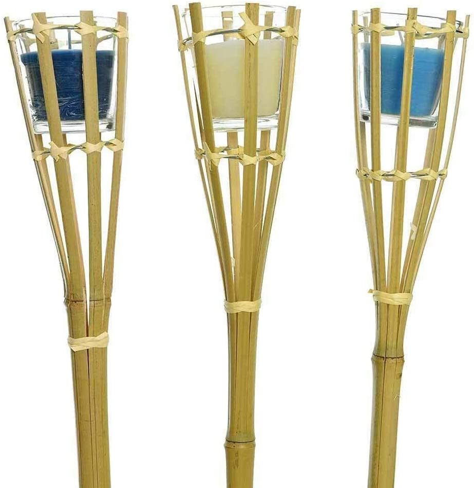 zeitzone 3 Gartenfackeln Bambus Citronella Kerze im Glas Gartenkerzen Bambusfackel 100cm