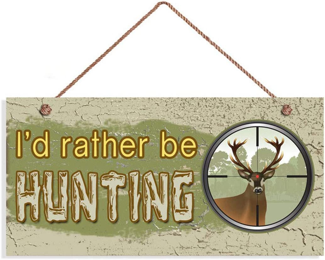 """I'd Rather Be Hunting Sign, Rustic Decor, Rifle Lens Aiming At Deer, 5"""" x 10"""" Sign, Gift For Him, Man Cave(LGZ397)"""