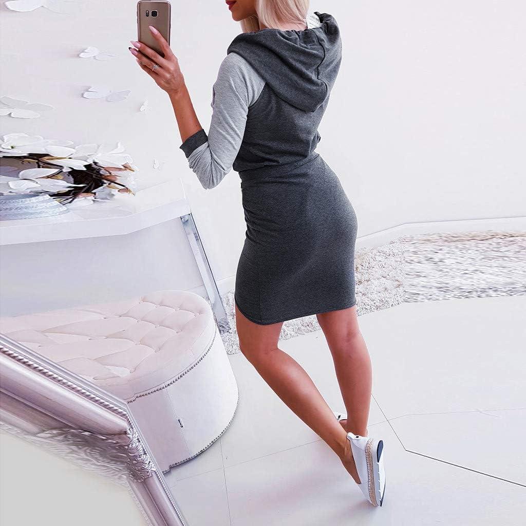 JXQ-N Damen Mini Baumwollmischung Lang/ärmliges Hoody Kleid Bodycon Kapuzenpullover Langarm Pullover Hoodie Tunika Longshirt Kleider