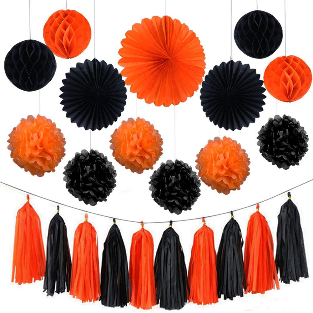 AZUNX Halloween Decoration, Happy Halloween Party Decoration Tissue Paper Garland Halloween String Banner Paper Tassels Balls Pumpkin flag Bat flag
