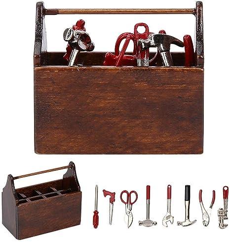 Caja de herramientas en miniatura de la casa de muñecas, 1:12 Accesorios de la casa de muñecas Caja de herramientas en miniatura Mini Caja de herramientas de madera Modelo Simulación: Amazon.es: Bebé