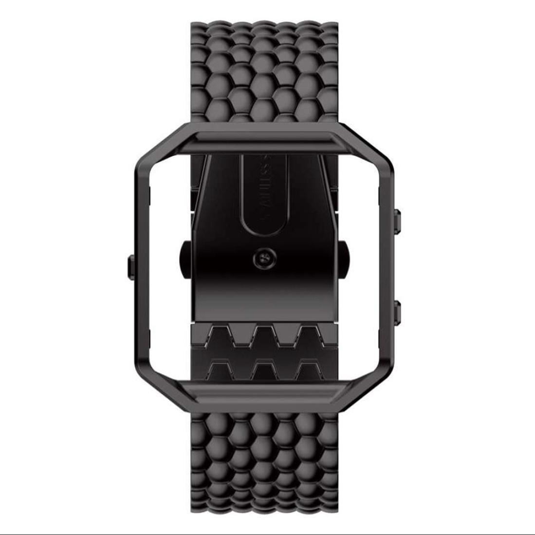 For Fitbit Blaze Watch ,Binmer(TM) Luxury Stainless Steel Bracelet Smart Watch Band Strap (Black)