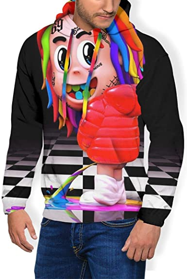 Mens 6iX-9iNe Long Sleeve Sweatshirt Warm Pullover Tops Pockets Hoodie
