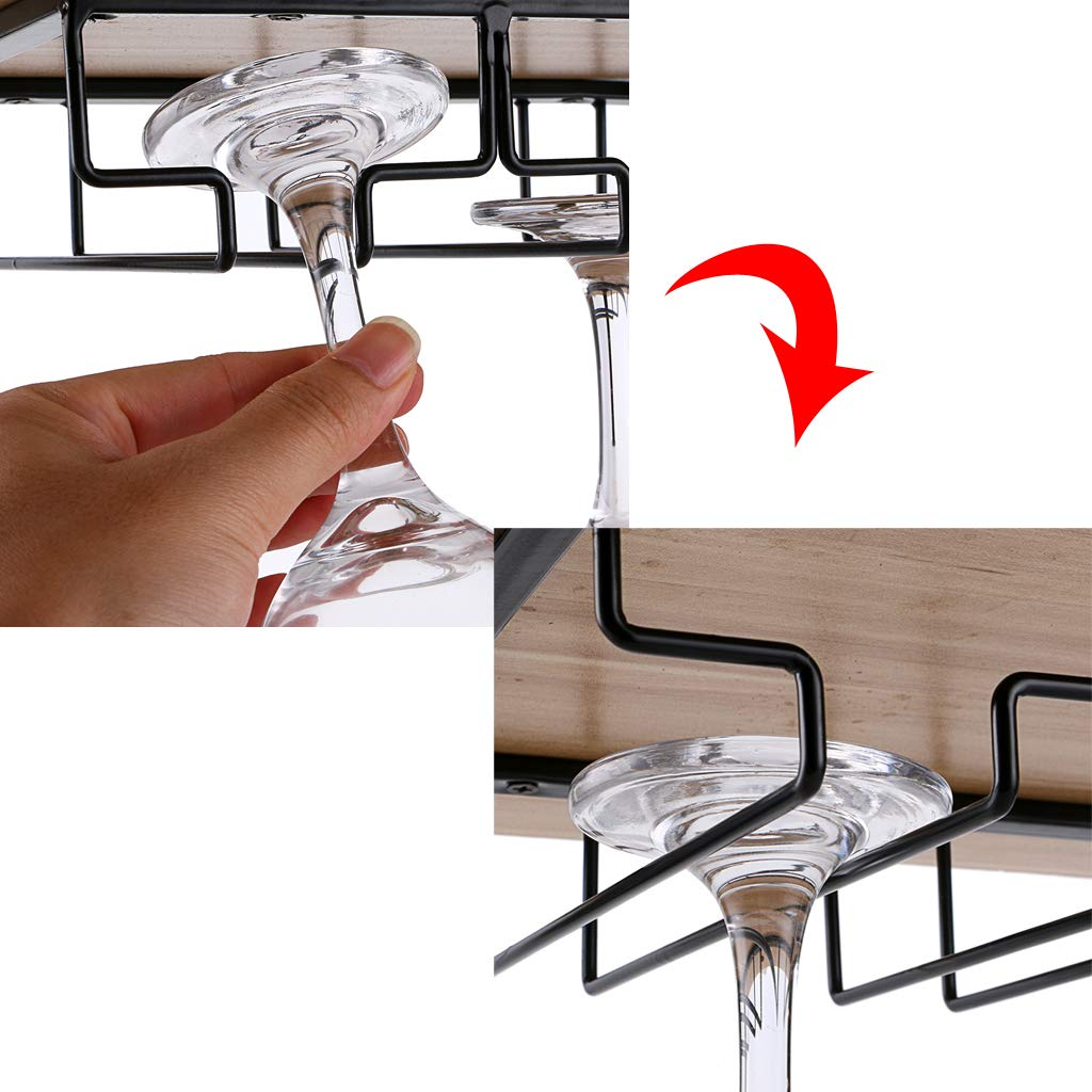 BTSKY 2 Pack Wine Glass Rack Holder Kitchen Black 3 Rows Under Cabinet Stemware Rack Wine Glass Hanger Rack Storage Organizer for Home Bar