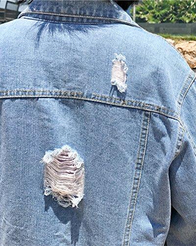 femmes manteau manches Mengmiao usé Denim de Jacket Retro à bleu Denim longues clair qw0FXH4